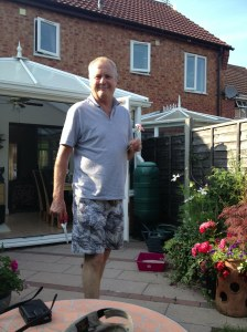 Heart-attack patient Graham Taylor recovers in the garden of his Worcester home.